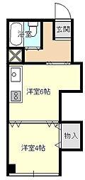 コーポヨネガハマ[403号室]の間取り