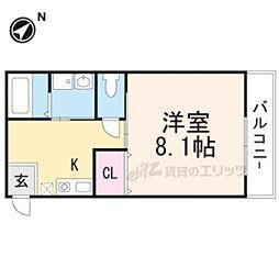阪急京都本線 桂駅 徒歩11分の賃貸マンション 1階1Kの間取り
