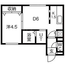Orquidea東本願寺(オルキデア東本願寺) 5階1DKの間取り
