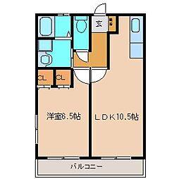 峯B棟[1階]の間取り