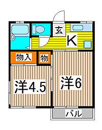コスモハイツベアー[2階]の間取り