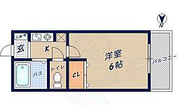サニーサイド富雄 3階1Kの間取り