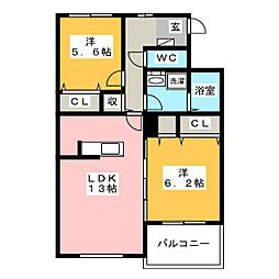 ルミナスコート[1階]の間取り