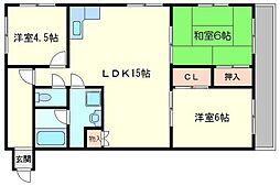 第3浦濱ビレッジ[4階]の間取り