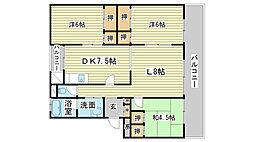 兵庫県姫路市西新在家2丁目の賃貸マンションの間取り