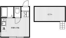 JR京浜東北・根岸線 山手駅 徒歩8分の賃貸アパート 2階ワンルームの間取り