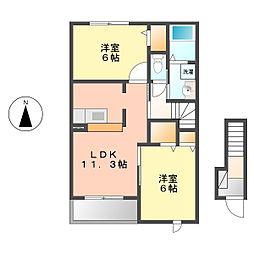 愛知県北名古屋市弥勒寺西3丁目の賃貸アパートの間取り