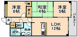 兵庫県伊丹市北伊丹8丁目の賃貸マンションの間取り