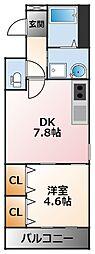 フジパレス小松南町 3階1DKの間取り
