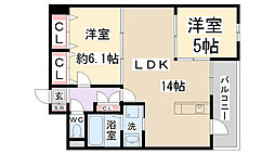 兵庫県伊丹市荒牧3丁目の賃貸マンションの間取り