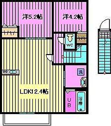 埼玉県さいたま市南区太田窪大字の賃貸アパートの間取り