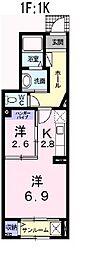 兵庫県姫路市市之郷の賃貸アパートの間取り