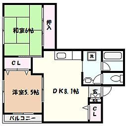 兵庫県神戸市東灘区深江南町3丁目の賃貸マンションの間取り