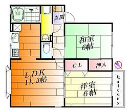 ナチュールB棟[2階]の間取り