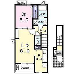 東京都調布市八雲台2丁目の賃貸アパートの間取り