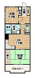陣山スカイマンション[6階]の間取り