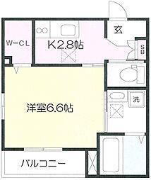都営大江戸線 新江古田駅 徒歩6分の賃貸マンション 1階1Kの間取り