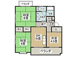 大阪府茨木市真砂1丁目の賃貸マンションの間取り