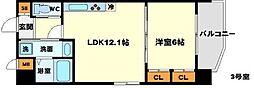 (仮称)プロスパー南吹田 3階1LDKの間取り