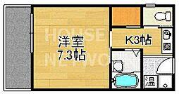 京都府京都市左京区松ケ崎三反長町の賃貸マンションの間取り