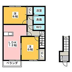 カーサ フェリーチェ B[2階]の間取り