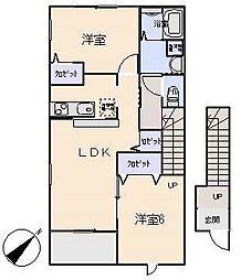 愛知県岡崎市二軒屋町2丁目の賃貸アパートの間取り