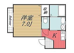 千葉県成田市中台6丁目の賃貸アパートの間取り