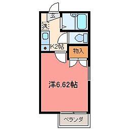 栃木県宇都宮市桜3丁目の賃貸アパートの間取り