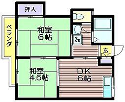 藤三ハイツ[203号室]の間取り