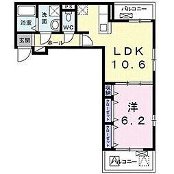 クオーレIII 2階1LDKの間取り