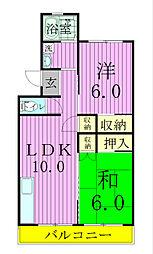 小松コーポ1号棟[406号室]の間取り