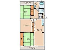 第2みどり館[3階]の間取り