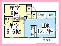 神奈川県大和市西鶴間7丁目の賃貸アパートの間取り