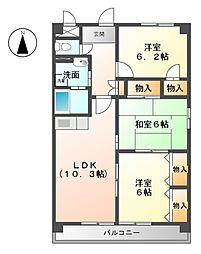 愛知県北名古屋市徳重東出の賃貸マンションの間取り