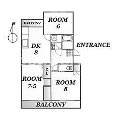 ハイツ福寿園2[1階]の間取り