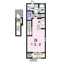 西町アパートC 2階1Kの間取り