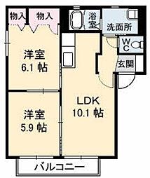 恋路ガーデンプレイスC棟[C201号室]の間取り