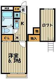 東京都府中市分梅町2丁目の賃貸アパートの間取り