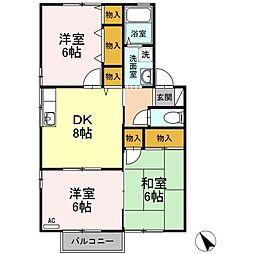 ファミール矢田A棟[2階]の間取り