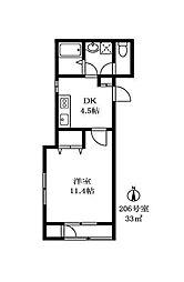尾山台QSハイム[2階]の間取り