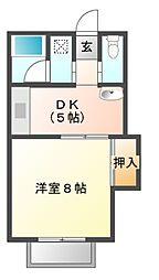 コーポ三喜B[1階]の間取り