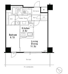JR山手線 目黒駅 徒歩7分の賃貸マンション 1階1LDKの間取り