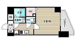 ララプレイス大阪福島プレッソ 13階1Kの間取り
