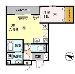 阪神本線 青木駅 徒歩3分の賃貸アパート 3階1DKの間取り