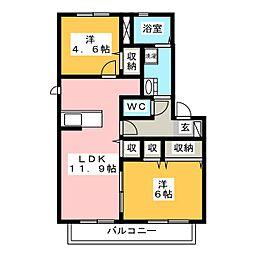カサベルデ野崎A・B[2階]の間取り