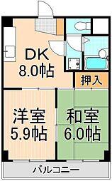 東京都足立区栗原2丁目の賃貸マンションの間取り