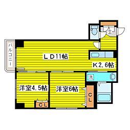 北海道札幌市東区北二十二条東20丁目の賃貸マンションの間取り