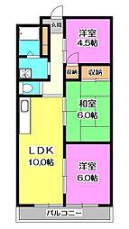 ピュア東所沢[1階]の間取り
