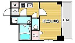 エスリード大阪ドームセルカ 9階1Kの間取り