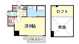 エステムコート神戸県庁前3フィエルテ[1307号室]の間取り